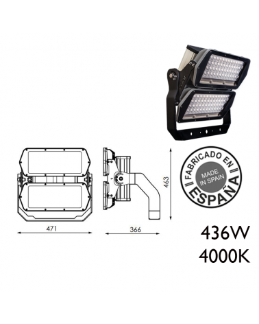Industrial outdoor projector 436W 96 leds IP66 4000K + 200,000h