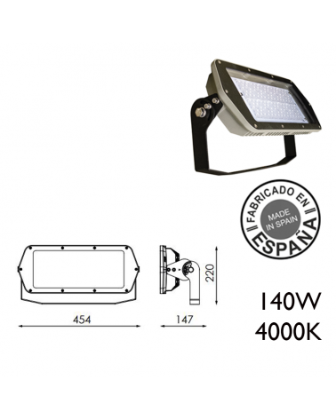Proyector de exteriores industrial 140W 120 leds IP66 4000K +100.000h