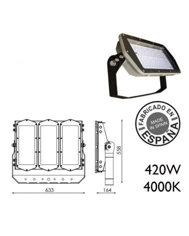 Proyector de exteriores industrial 420W 360 leds IP66 4000K +100.000h