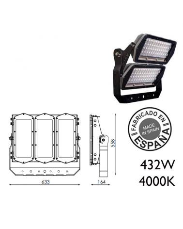 Proyector de exteriores industrial 432W 144 leds IP66 4000K +200.000h