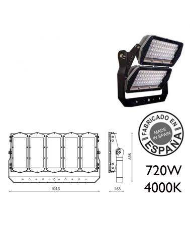 Proyector de exteriores industrial 720W 240 leds IP66 4000K +200.000h