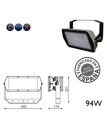 Industrial outdoor projector 94W 40 leds IP66 + 50,000h