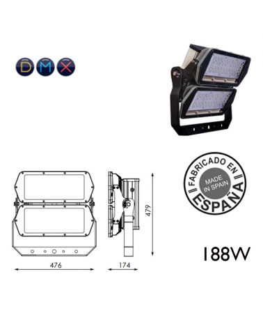 Industrial outdoor projector 188W 80 leds IP66 + 50,000h