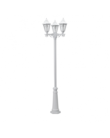 Classic street lamp IP44 15W 3xE27 height 240cm with resistant UV beveled polycarbonate diffuser