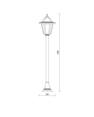 Classic lamppost beacon IP44 15W E27 height 120cm with resistant UV beveled polycarbonate diffuser