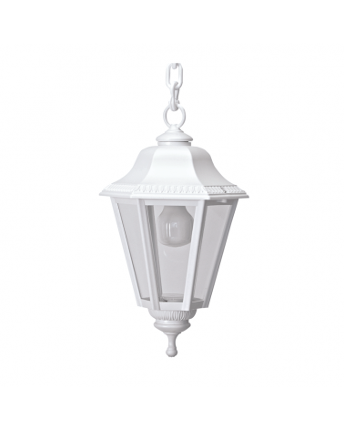Farol clásico lámpara colgante de exteriores IP44 15W E27 alto 65cm con difusor de policarbonato biselado UV resistente