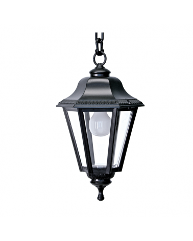 Classic lantern outdoor pendant lamp IP44 15W E27 high 65cm with UV resistant beveled polycarbonate diffuser