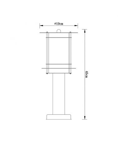 Baliza de 45 cm IP44 de acero inoxidable pantalla policarbonato E27 60W