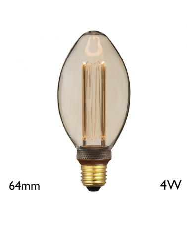 Vintage Amber Torch Light Bulb 64 mm LED filaments E27 4W 2000K 200 Lm