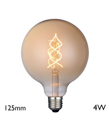 Vintage Amber Globe Bulb 125 mm vertical spiral filaments LED E27 4W 2700K 350 Lm