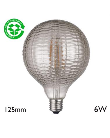 Vintage Striated Globe Gray Light Bulb 125 mm LED filaments E27 6W 2700K 600Lm