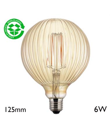Vintage Amber Striated Globe Bulb 125 mm LED filaments E27 6W 2700K 750Lm