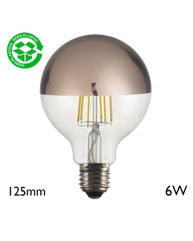 Globe Bulb 125 mm Dome Mirror Copper filaments LED E27 6W 2700K 750Lm