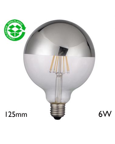 Globe Bulb 125 mm Silver Mirror Dome LED filaments E27 6W 2700K 750Lm.