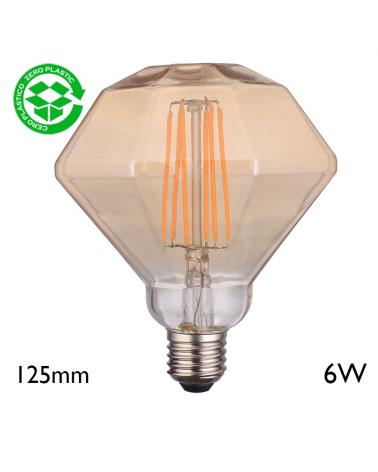 Bombilla Rombo Ámbar 125 mm filamentos 6W LED E27 2700K 750Lm