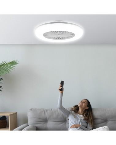 Ventilador plafón acrílico acabado blanco 55cm LED 36W 3000-6000K