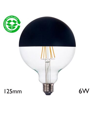 Bombilla Globo 125 mm Cúpula Negra filamentos LED E27 6W 2700K 750Lm
