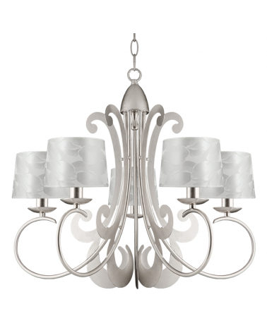 Ceiling lamp 60cms diameter with 5 silver finish lampshades 5xE14