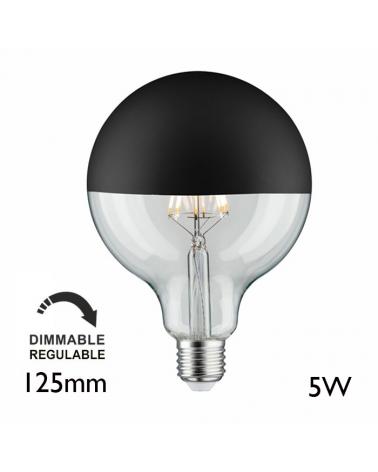 Globe Bulb 125 mm. Dome Black matt LED filaments Dimmable E27 5W 2700K 520Lm.