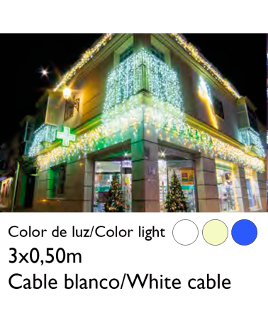 3x0.5m LED curtain icicle ice effect, white cable connectable with 114 flashing LEDs IP65 suitable for outdoor