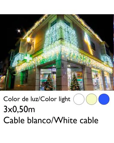 Cortina de LEDs 3x0,5m efecto hielo icicle, cable blanco empalmable con 114 leds flashing IP65 apta para exterior