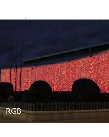 LED curtain lights 2x2m 400 RGB Leds, matte capsule, white cable, suitable for outdoor IP65