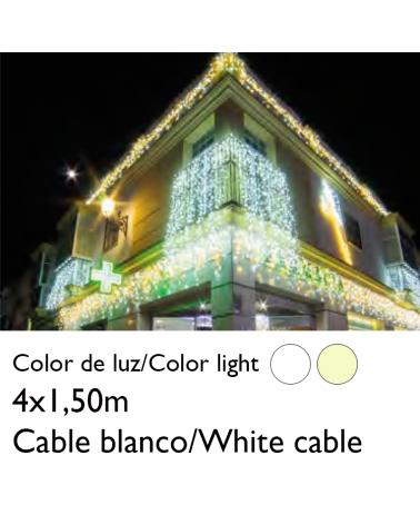 Cortina de LEDs 4x1,5m efecto hielo icicle estalactita, cable blanco empalmable con 304 leds flashing IP65 apta para exterior