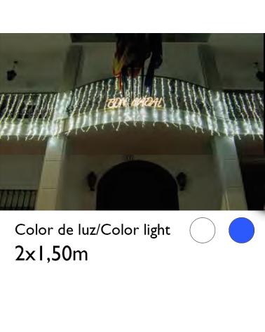 Cortina cascada de LEDs 2x1,5m cable transparente con 768 leds IP44 apta para exterior