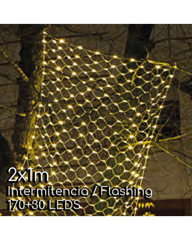 Red de LEDs 2X1m cable negro empalmable con 200 leds flashing IP65 apta para exterior