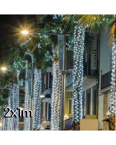 Red de LEDs 2X1m empalmable disponible en luz blanca fría o cálida, tanto cable blanco como negro con 200 leds IP65