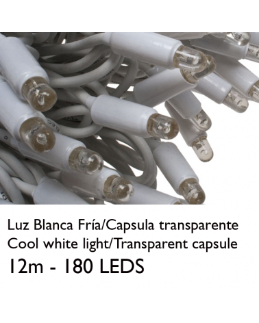 Guirnalda 12m y 180 LEDs blanco frío cápsula clara cable blanco o verde , empalmable IP65 apta para exterior