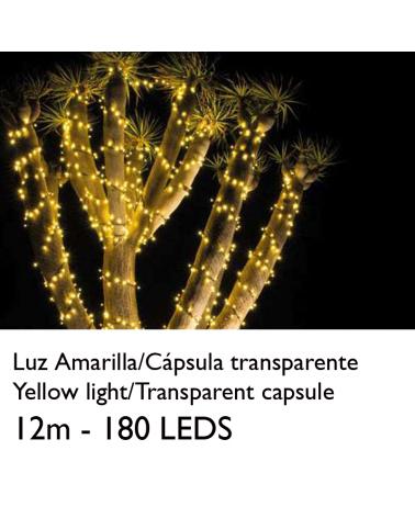Guirnalda 12m y 180 LEDs amarillos cápsula clara cable amarillo, empalmable IP65 apta para exterior