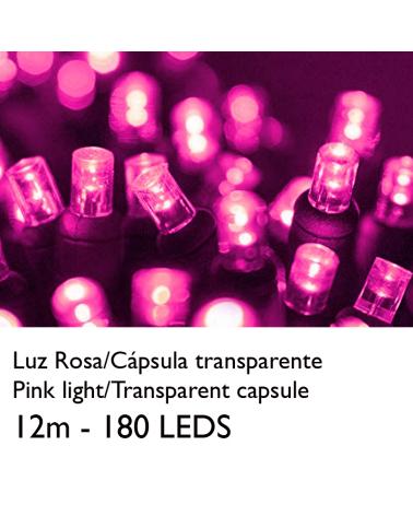 Guirnalda 12m y 180 LEDs rosa cápsula clara cable rosa, empalmable IP65 apta para exterior