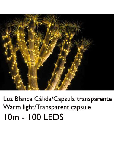 Guirnalda 10m y 100 LEDs blanco cálido cápsula clara cable blanco o verde empalmable IP65 apta para exterior