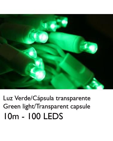 Guirnalda 10m y 100 LEDs color verde cápsula clara y cable empalmable IP65 apta para exterior