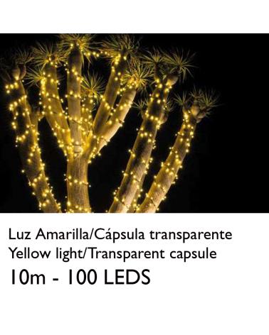 Guirnalda 10m y 100 LEDs color amarillo cápsula clara y cable empalmable IP65 apta para exterior