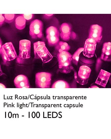 Guirnalda 10m y 100 LEDs color rosa cápsula clara y cable empalmable IP65 apta para exterior