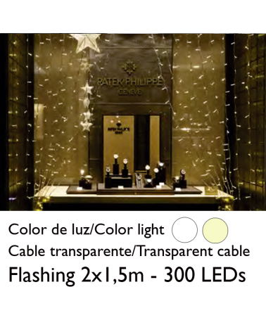 LED curtain 2x1,5m transparent cable connectable with 300 flashing LEDs for indoor