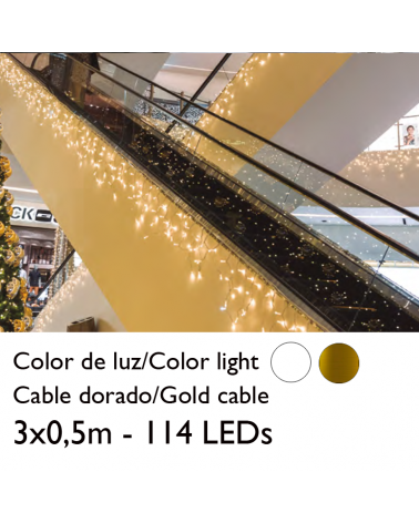 LED curtain 3x0.5m ice effect icicle stalactite, gold cable with 114 leds for indoor use