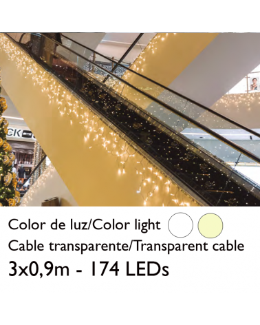 LED curtain 3x0.9m ice effect icicle stalactite, transparent cable with 174 leds for indoor use