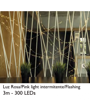 Wire thread 3m LED 10 pink strips transparent cable 300 LEDs flashing for indoor