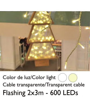 LED curtain 2x3m transparent cable splicable with 600 flashing LEDs for indoor