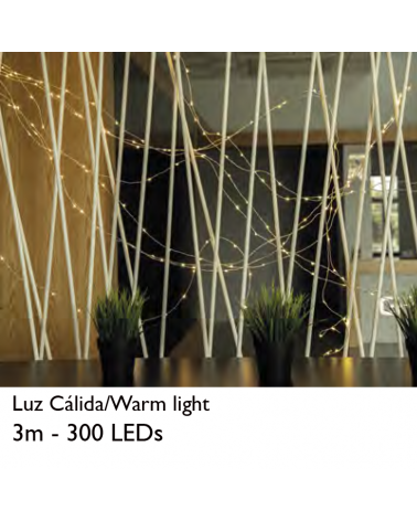 Wire thread LED 3m 10 strips warm white 300 LEDs for interior