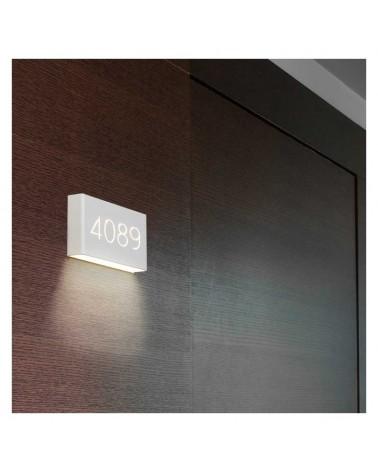 Aplique señalética numerado 13cm rectangular aluminio blanco regulable 1xG9 luz inferior