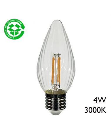 Bombilla antorcha LED filamento 4W E27 3000K 400Lm