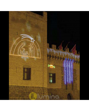 LED Christmas figure silhouette Portal of Bethlehem 2.75x1.90 meters suitable for outdoor