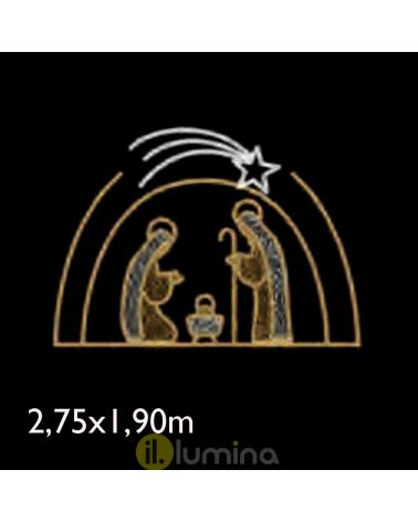 Figura Navideña Portal de Belén con relleno de luces 2,75x1,90 metros apto para exteriores