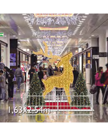 Christmas figure Reindeer standing 3D LED and luminous tapestry 1.63x2.54 meters IP65 low voltage 24V