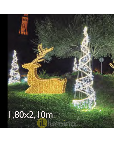 Christmas figure Reindeer sitting 3D LED and luminous tapestry 1.80x2.10 meters IP65 low voltage 24V