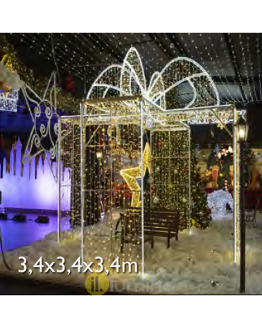 Walkable 3D flashing LED gift box 3.40x3.40x3.40 meters IP65 low voltage 24V